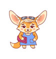 cute stylish dressed female fennec fox with vector image