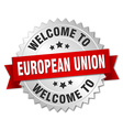 european union 3d silver badge with red ribbon vector image vector image