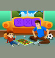 father and son playing board game at home vector image