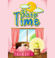 font design for word sleep time with girl vector image vector image