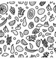 fruit seamless pattern in doodle style vector image