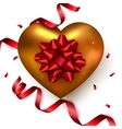 Gold heart with red ribbon confetti on white vector image vector image