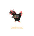 good morning concept with cute stylized rooster vector image vector image