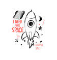 hand drawn space elements space about doodle vector image
