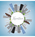 Houston Skyline with Gray Buildings and Blue Sky vector image vector image