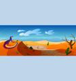 lizard sit on dune in desert with golden sand vector image vector image