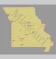 missouri detailed exact detailed state map with vector image vector image