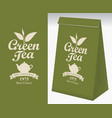 paper packaging with label for green tea vector image