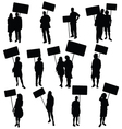 people holding blank board silhouette vector image