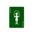 playing card with joker in green design vector image vector image