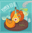 pumpkin seed oil used for cooking vector image vector image