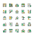 Real Estate Colored Icons 3 vector image vector image