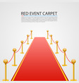 red event carpet isolated on a white background vector image vector image