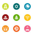 religion of the east icons set flat style vector image
