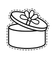 round gift box ribbon festive open cut line vector image vector image
