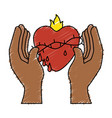 sacred jesus heart icon vector image vector image