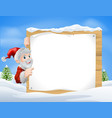 santa christmas sign snow scene vector image vector image