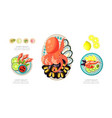 seafood dishes set shrimps octopus mussels vector image