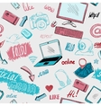 Seamless doodle social media background vector image