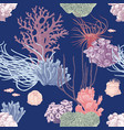 seamless pattern with hand drawn coral reef vector image vector image