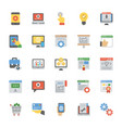 seo and web optimization flat icons set vector image vector image