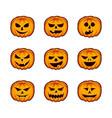 set pumpkin semotions for halloween orange jack vector image