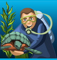 sketch a poster a male diver and a large vector image