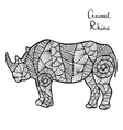 Stylized Rhino zentangle isolated on white vector image