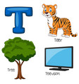 t alphabet vector image vector image