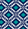 Tribal blue and turquoise geometric seamless vector image