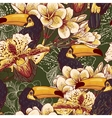 Tropical seamless parrern with flowers and Toucan vector image vector image
