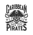 tshirt print with pirate skull mascot in tricorn vector image vector image