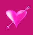 valentines day card 3d heart with arrow icon vector image