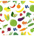 various fruits and vegetables seamless pattern vector image