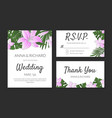 wedding invitation thank you rsvp card design vector image vector image