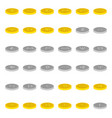 set of thirty six icons of gold and silver vector image