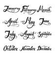12 months lettering set for calender vector image vector image