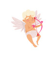 adorable baby boy with wings pink bow and arrows vector image