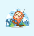 adorable girl lonely time outdoor concept doodle vector image vector image
