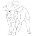adult coloring bookpage a cute pig image vector image