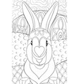 adult coloring bookpage a cute rabbit on the vector image vector image
