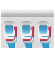 Aircraft cabin with portholes and seats vector image vector image