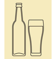 bottle and glass beer vector image vector image