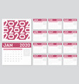 calendar 2020 year 12 months diary calendar in a vector image