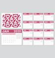 calendar 2020 year 12 months diary calendar in a vector image
