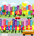 Cartoon city with people pictograms vector image vector image