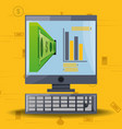 computer with economic process and equivalences vector image vector image
