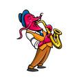 crawfish saxophone player mascot vector image