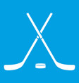 crossed hockey sticks and puck icon white vector image vector image