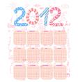 cute 2012 calendar vector image vector image